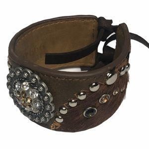 Western Moments Leather FauxFur Bejeweled Cuff